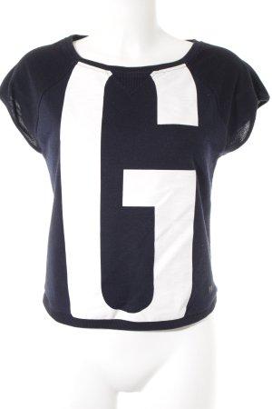 G-Star Feinstrickpullunder weiß-dunkelblau Schriftzug gedruckt Casual-Look