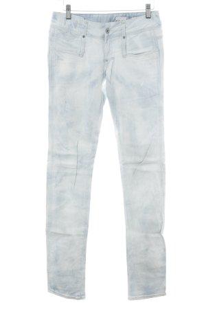 G-Star High Waist Jeans weiß-himmelblau Schriftzug gestickt Used-Optik