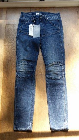 Gstar Jeans de moto bleu acier coton