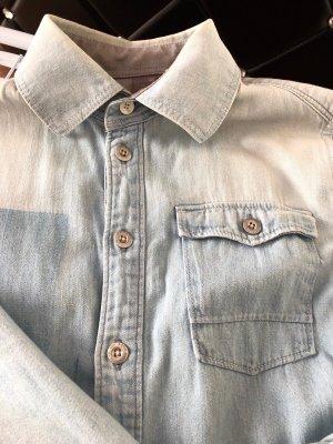 G-Star Raw Chemise en jean gris clair-bleu azur