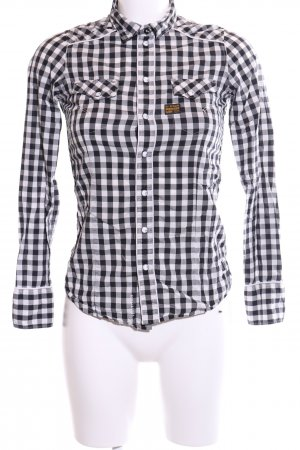 G-Star Long Sleeve Blouse white-black check pattern casual look