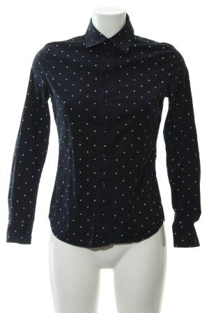 G-Star Langarm-Bluse dunkelblau-weiß Punktemuster Casual-Look