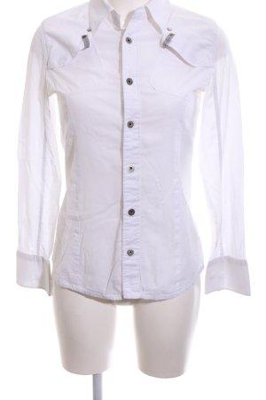 G-Star Langarmhemd weiß-schwarz Schriftzug gedruckt Casual-Look