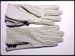G-Star Guantes de cuero color oro-blanco