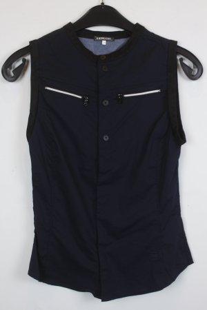 G-Star RAW Bluse Weste Gr. XS dunkel blau Druckknöpfe schwarze Details an Armausschnitt und Ausschnitt (18/3/247)