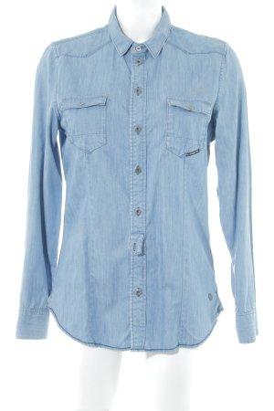 G-Star Raw Denim Shirt steel blue flecked casual look