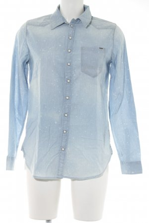 G-Star Raw Camicia denim bianco-azzurro Motivo schizzi di pittura stile casual