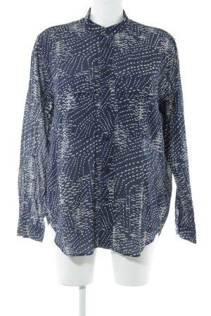 G-Star Raw Langarmhemd blau-wollweiß abstraktes Muster Casual-Look