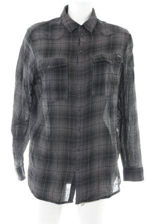 G-Star Raw Langarmhemd schwarz-dunkelgrau Glencheckmuster Casual-Look