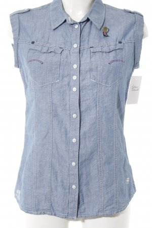 G-Star Raw Linen Blouse cornflower blue flecked casual look