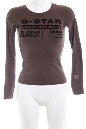 G-Star Raw Longsleeve graubraun-schwarz Schriftzug gedruckt Casual-Look