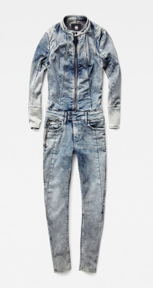 G-Star RAW Overall Jeans Bleached Denim Stretch Jumpsuit – XS