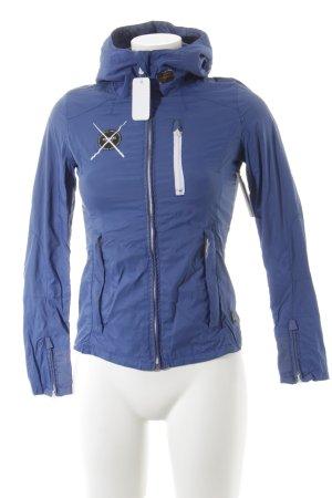 G-Star Raw Regenjacke stahlblau-weiß Materialmix-Look
