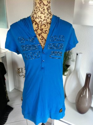 G STAR RAW SHIRT TOP OBERTEIL MIT KAPUZE Gr M SUPER ZUSTAND BLAU