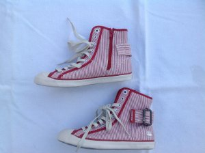 G-STAR RAW Sneakers, Stoff rot/beige gestreift, halbhoch, NEU, Gr. 36