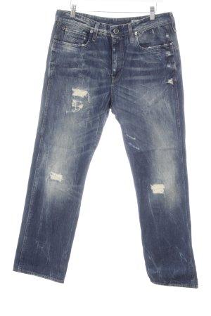 G-Star Raw Straight-Leg Jeans stahlblau Used-Optik