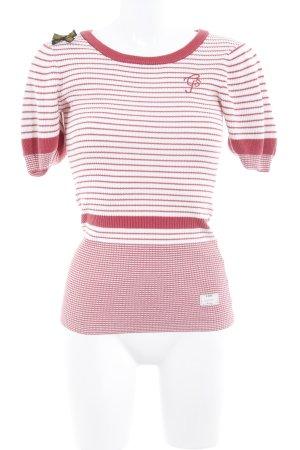 G-Star Raw Camisa tejida blanco puro-rojo ladrillo estampado a rayas
