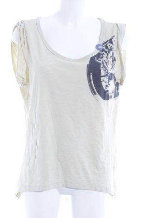 G-Star Raw T-Shirt blassgelb-schwarz Motivdruck sportlicher Stil