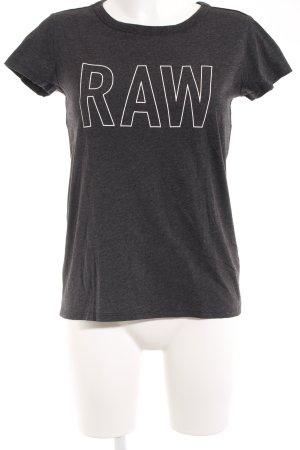 G-Star Raw T-Shirt dunkelgrau-weiß Schriftzug gedruckt