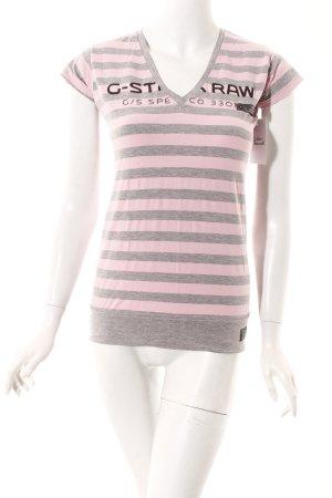 G-Star Raw T-Shirt hellrosa-hellgrau Streifenmuster Casual-Look