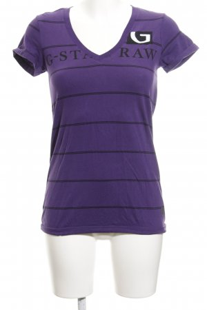 G-Star Raw T-Shirt lila-schwarz Schriftzug gedruckt Casual-Look
