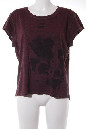 G-Star Raw T-Shirt schwarz-bordeauxrot Schriftzug gedruckt Casual-Look