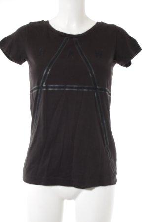G-Star Raw T-Shirt schwarz-dunkelgrau Schriftzug gedruckt sportlicher Stil