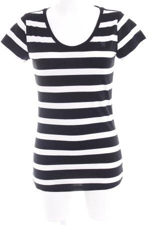 G-Star Raw T-Shirt schwarz-weiß Streifenmuster klassischer Stil