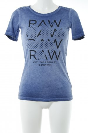 G-Star Raw T-Shirt stahlblau grafisches Muster Casual-Look
