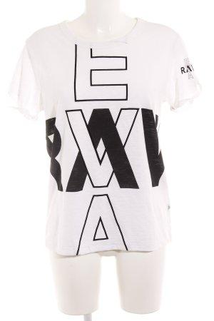 G-Star Raw T-Shirt wollweiß-schwarz Schriftzug gedruckt Casual-Look