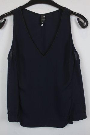G-Star RAW Top Gr. XS dunkel blau Leder Besatz im Ausschnitt (18/3/248)