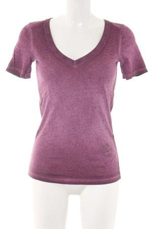 G-Star Raw V-Ausschnitt-Shirt purpur-violett meliert sportlicher Stil