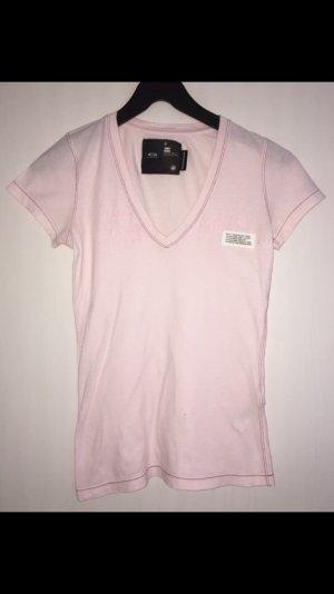 G-Star V-hals shirt lichtroze Katoen