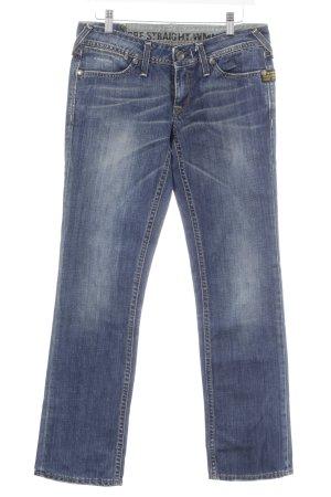 G-Star Jeans met rechte pijpen blauw-zilver casual uitstraling
