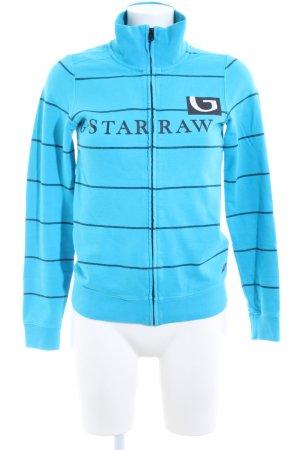G-Star Sweatjacke blau-schwarz Schriftzug gedruckt Casual-Look