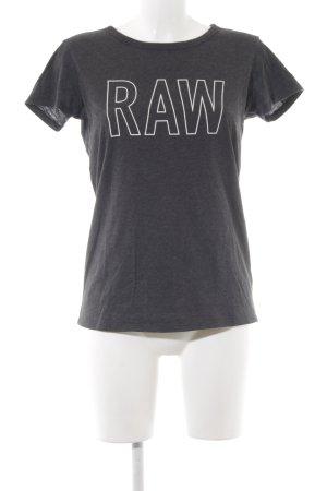 G-Star T-Shirt anthrazit-weiß Schriftzug gedruckt Casual-Look