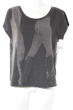 G-Star T-Shirt dunkelgrau-hellbraun Motivdruck Casual-Look