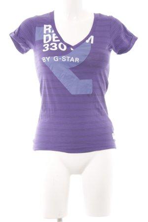 G-Star T-Shirt grauviolett-graublau Schriftzug gedruckt Casual-Look