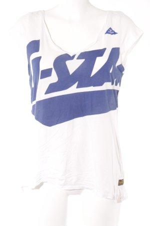 G-Star T-Shirt weiß-blau Schriftzug gedruckt Casual-Look