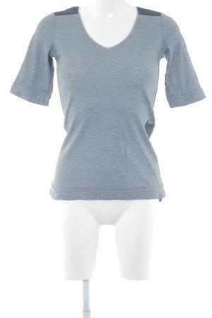 G-Star T-Shirt weiß-graublau Schriftzug gestickt Casual-Look