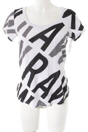 G-Star T-Shirt weiß-schwarz Schriftzug gedruckt Casual-Look