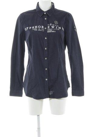 Gaastra Hemd-Bluse dunkelblau Schriftzug gedruckt Casual-Look