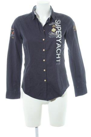 Gaastra Hemd-Bluse dunkelblau-weiß Schriftzug gedruckt Casual-Look