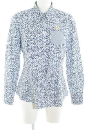 Gaastra Hemd-Bluse weiß-dunkelblau florales Muster Casual-Look