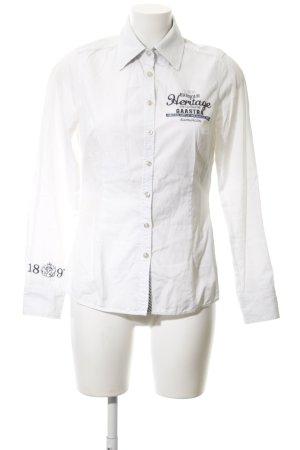 Gaastra Hemd-Bluse weiß Schriftzug gestickt schlichter Stil
