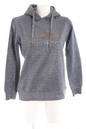 Gaastra Hooded Sweater silver-colored-dark blue printed lettering glittery