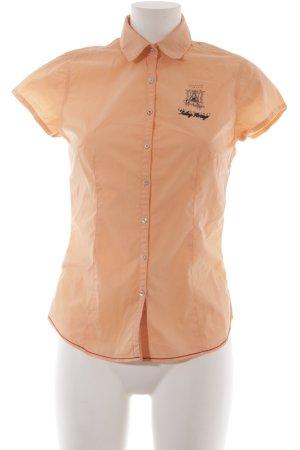 Gaastra Kurzarm-Bluse apricot Schriftzug gedruckt Casual-Look