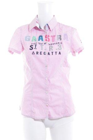 Gaastra Kurzarm-Bluse weiß-rosa Schriftzug gedruckt Casual-Look
