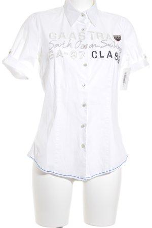 Gaastra Kurzarm-Bluse weiß-silberfarben Casual-Look