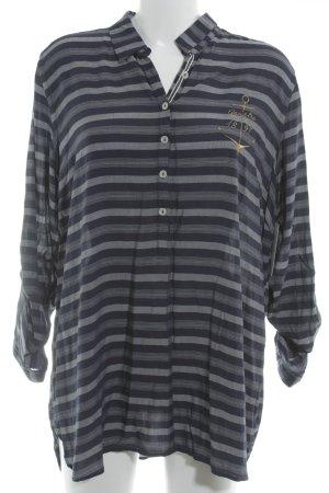 Gaastra Langarm-Bluse dunkelblau-grau Streifenmuster Casual-Look